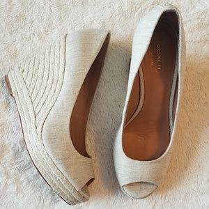 Coach peep toe cream wedges